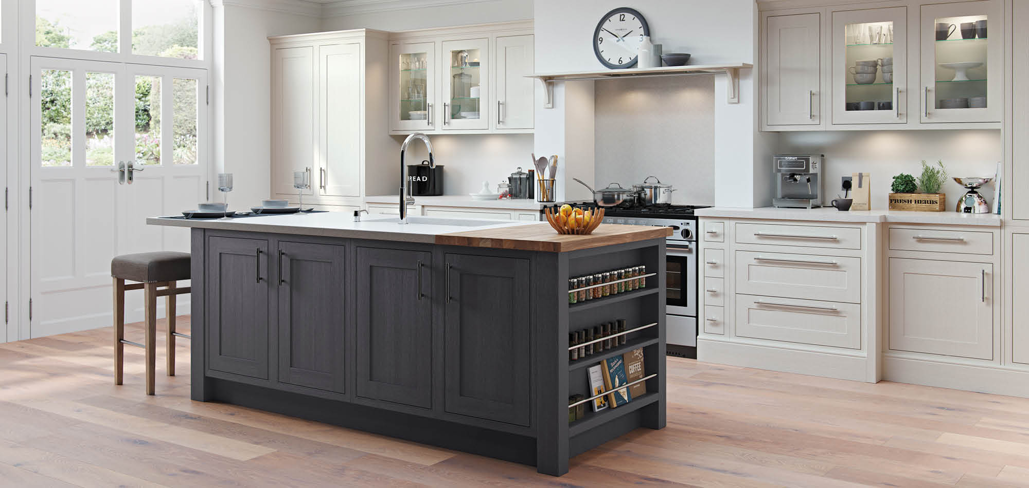 Chalk White Amp Gunmetal Grey Mereway Kitchens