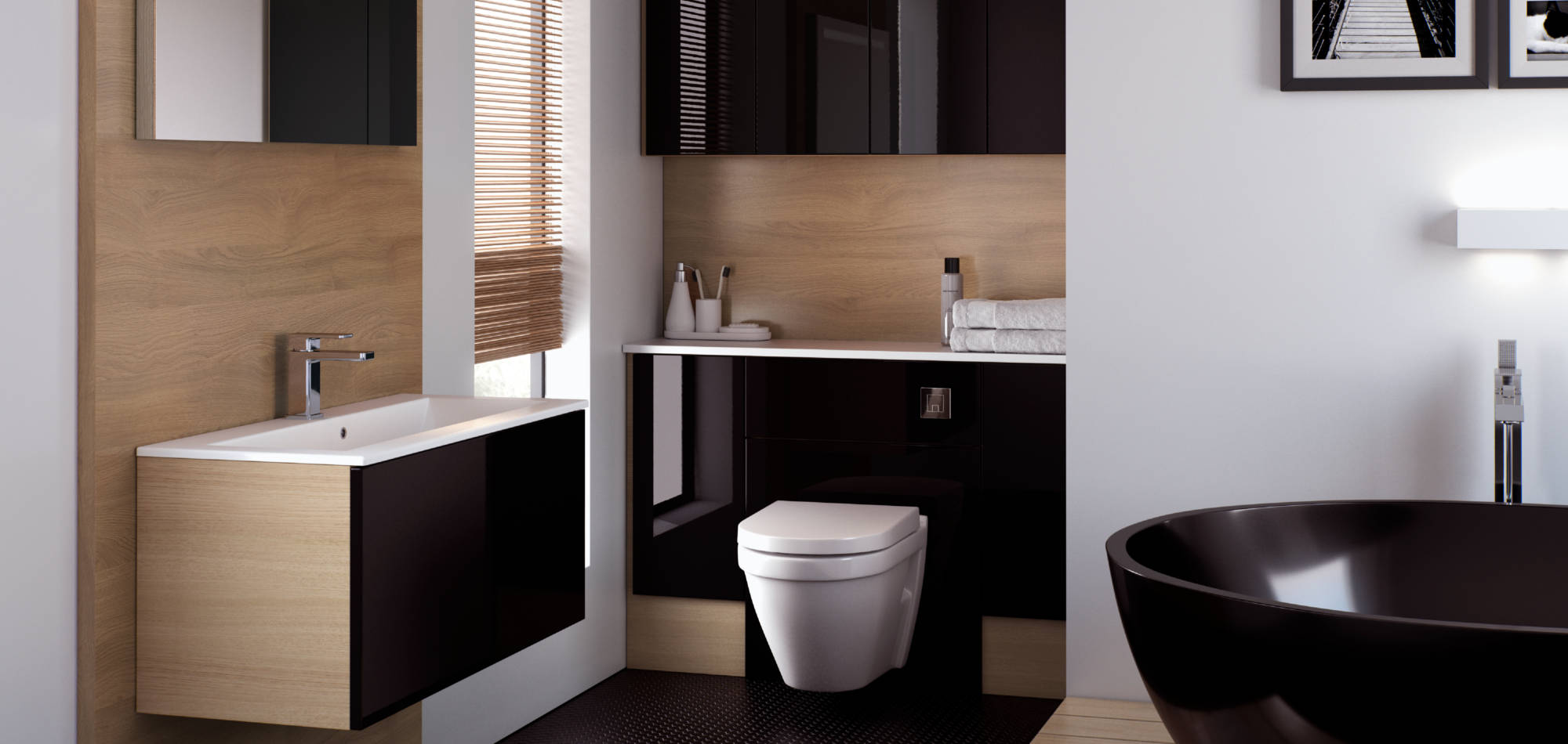 mereway bathrooms vogue black gloss
