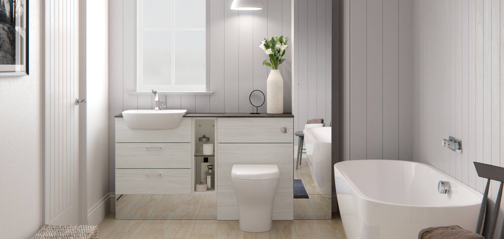 mereway bathrooms vogue white wood